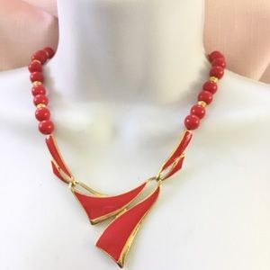 Vintage Red Enamel Bead Necklace